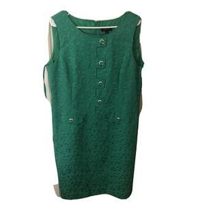 Tahari Green Sleeveless Sheath Dress Size 16 Wome